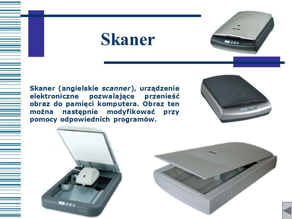 Skaner Skaner (angielskie scanner), urządzenie elektroniczne pozwalające przenieść obraz do pamięci komputera. Obraz ten można następnie modyfikować p
