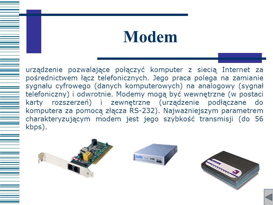 Modem urządzenie pozwalające połączyć komputer z siecią Internet za pośrednictwem łącz telefonicznych. Jego praca polega na zamianie sygnału cyfrowego
