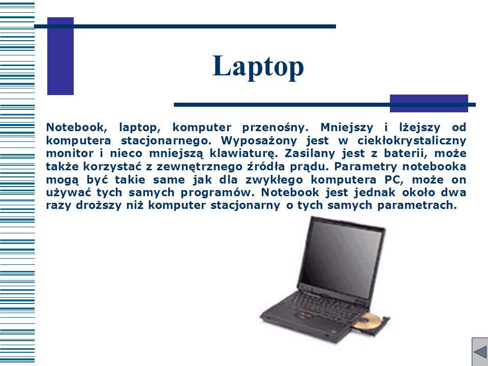 Laptop Notebook, laptop, komputer przenośny. Mniejszy i lżejszy od komputera stacjonarnego. Wyposażony jest w ciekłokrystaliczny monitor i nieco mniej