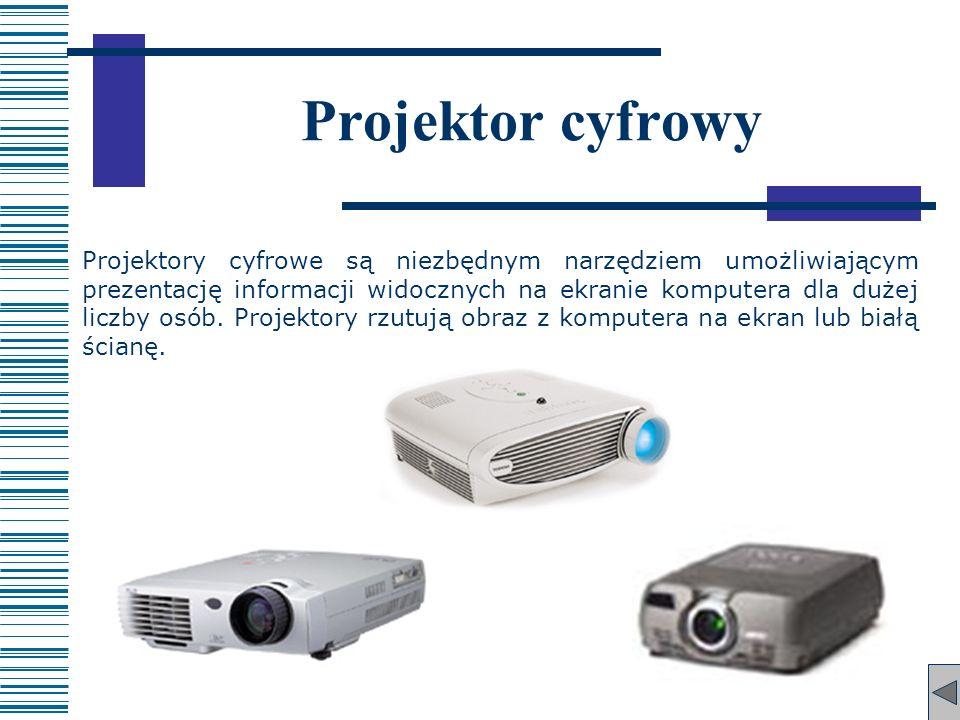 Projektor cyfrowy Projektory cyfrowe są niezbędnym narzędziem umożliwiającym prezentację informacji widocznych na ekranie komputera dla dużej liczby o