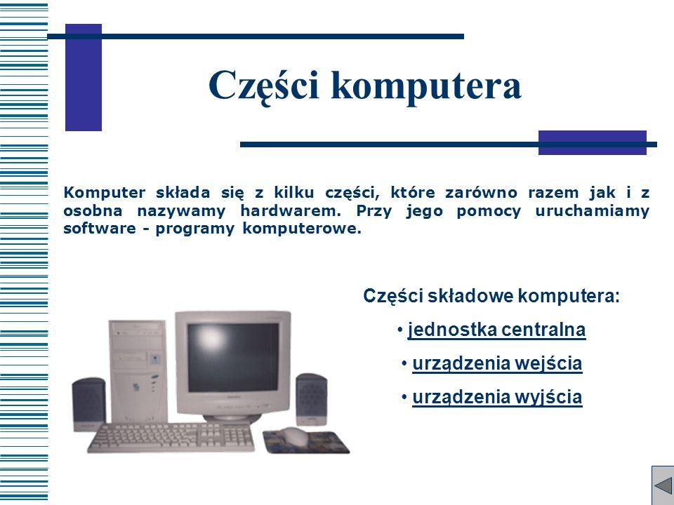 Komputer składa się z kilku części, które zarówno razem jak i z osobna nazywamy hardwarem. Przy jego pomocy uruchamiamy software - programy komputerow