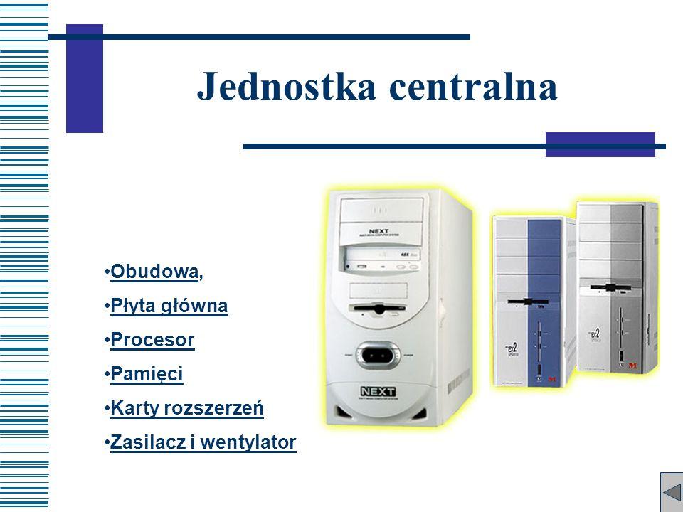 Obudowa,Obudowa Płyta główna Procesor Pamięci Karty rozszerzeń Zasilacz i wentylator Jednostka centralna