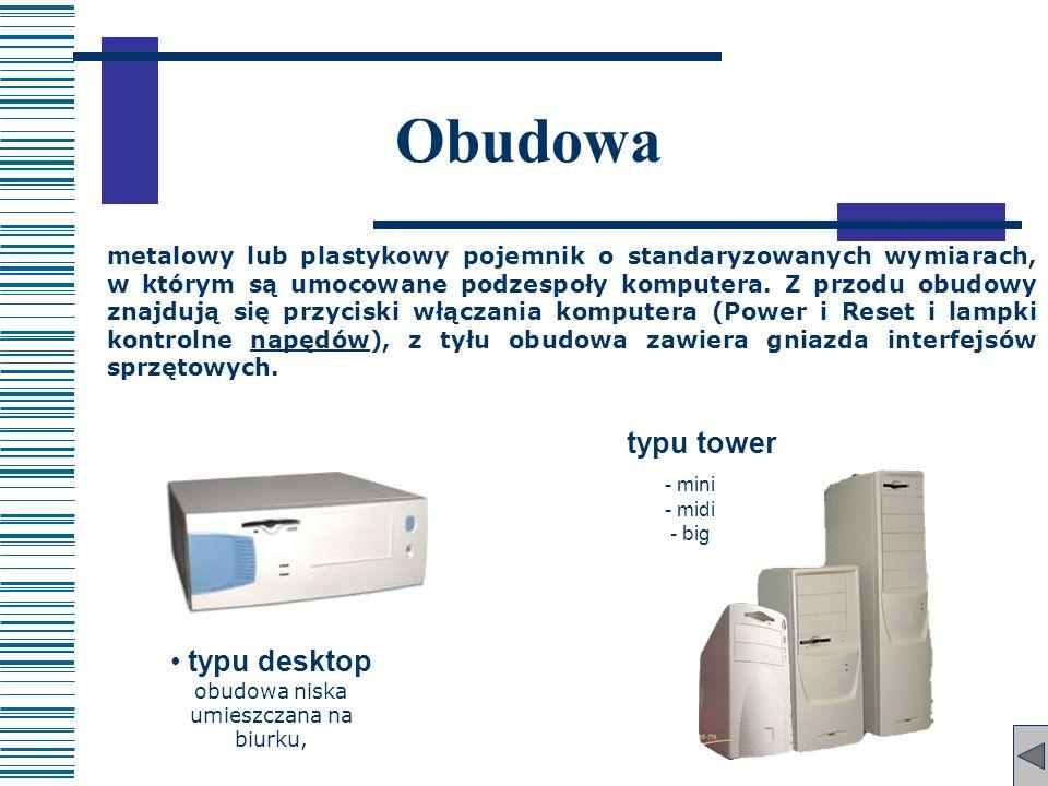 typu desktop obudowa niska umieszczana na biurku, typu tower - mini - midi - big Obudowa metalowy lub plastykowy pojemnik o standaryzowanych wymiarach