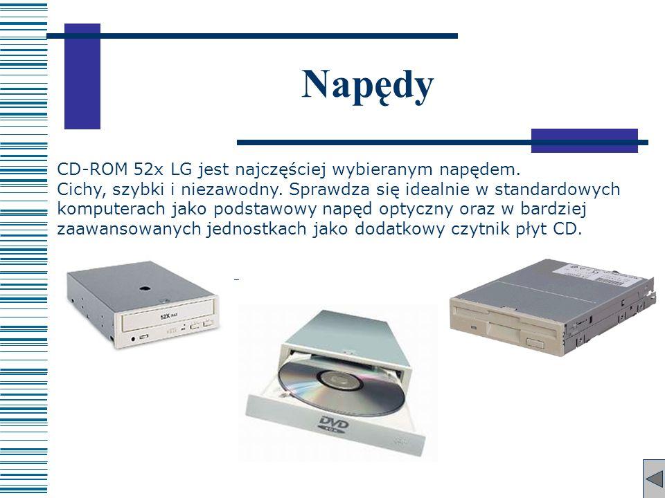 Napędy CD-ROM 52x LG jest najczęściej wybieranym napędem. Cichy, szybki i niezawodny. Sprawdza się idealnie w standardowych komputerach jako podstawow
