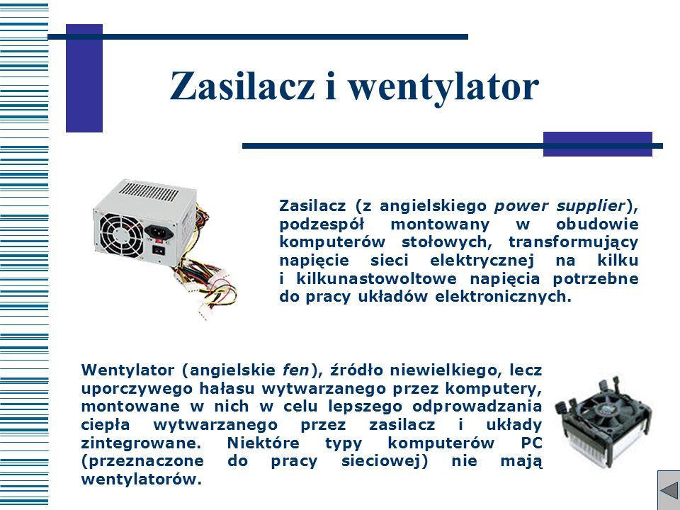Zasilacz i wentylator Zasilacz (z angielskiego power supplier), podzespół montowany w obudowie komputerów stołowych, transformujący napięcie sieci ele