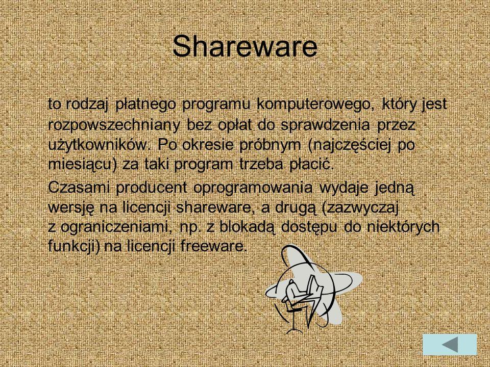 Shareware to rodzaj płatnego programu komputerowego, który jest rozpowszechniany bez opłat do sprawdzenia przez użytkowników.