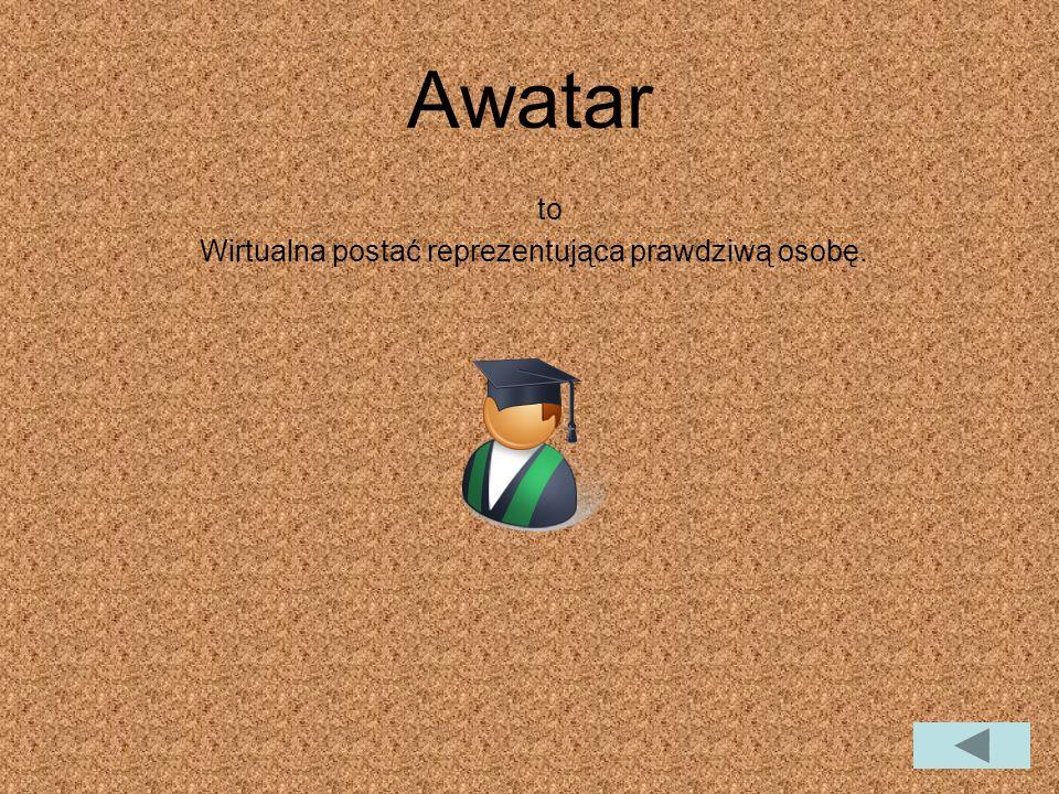 Awatar to Wirtualna postać reprezentująca prawdziwą osobę.