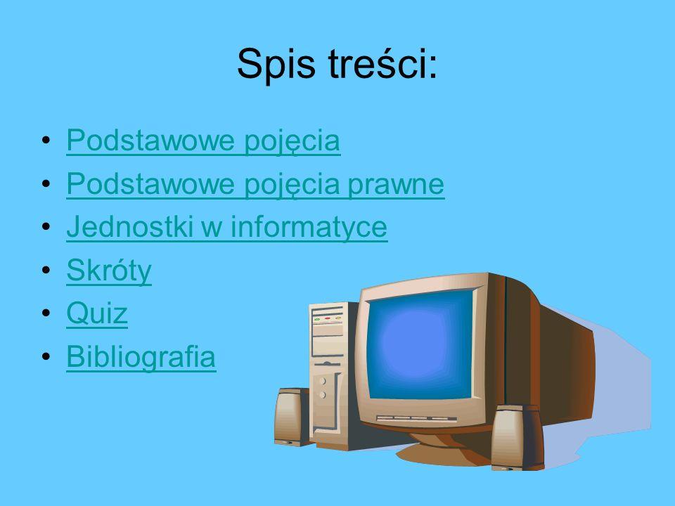 Pojęcia podstawowe w informatyce Hardware Hardware Software Rom Ram Freeware Shareware Wirus komputerowyWirus komputerowy Demo WWW Awatar E-mail Netykieta Forum Akronimy