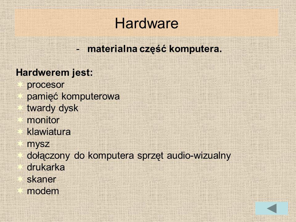 Hardware -materialna część komputera.