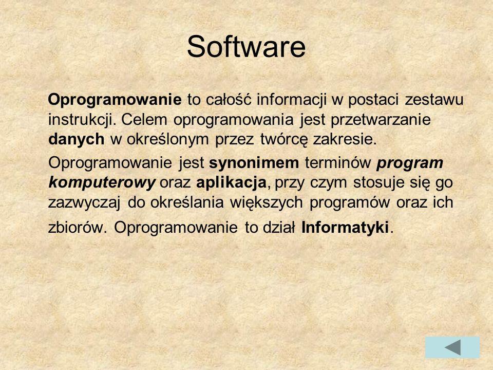 Software Oprogramowanie to całość informacji w postaci zestawu instrukcji.