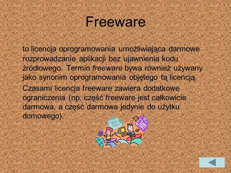 Freeware to licencja oprogramowania umożliwiająca darmowe rozprowadzanie aplikacji bez ujawnienia kodu źródłowego.