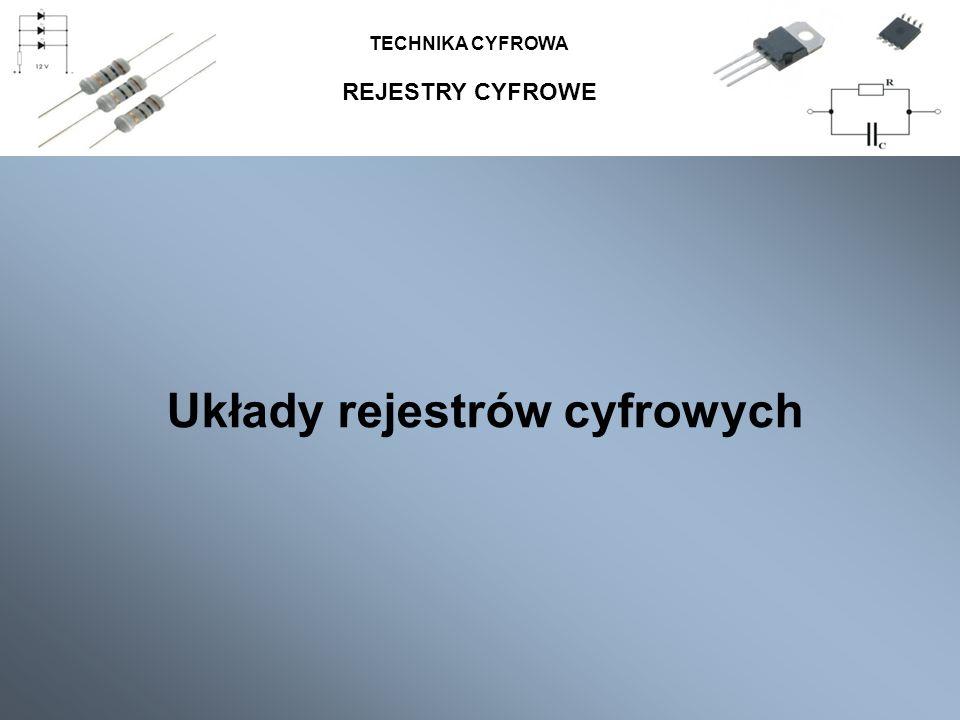 REJESTRY CYFROWE TECHNIKA CYFROWA Układy rejestrów cyfrowych