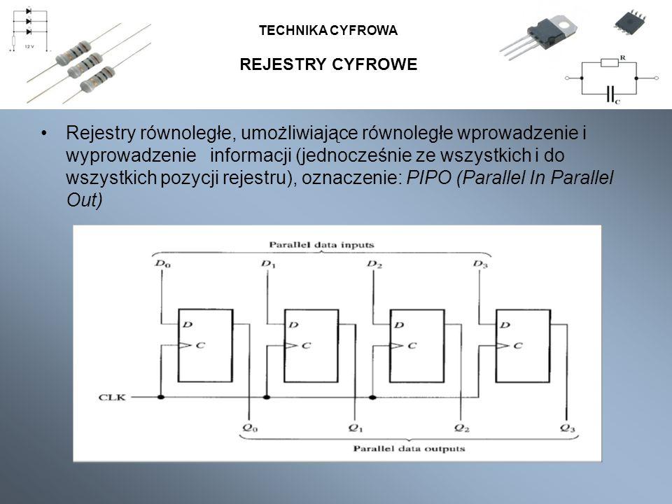 REJESTRY CYFROWE TECHNIKA CYFROWA Rejestry równoległe, umożliwiające równoległe wprowadzenie i wyprowadzenie informacji (jednocześnie ze wszystkich i