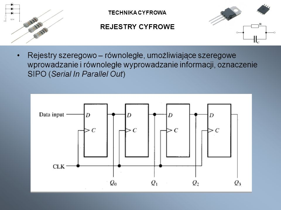REJESTRY CYFROWE TECHNIKA CYFROWA Rejestry szeregowo – równoległe, umożliwiające szeregowe wprowadzanie i równoległe wyprowadzanie informacji, oznacze