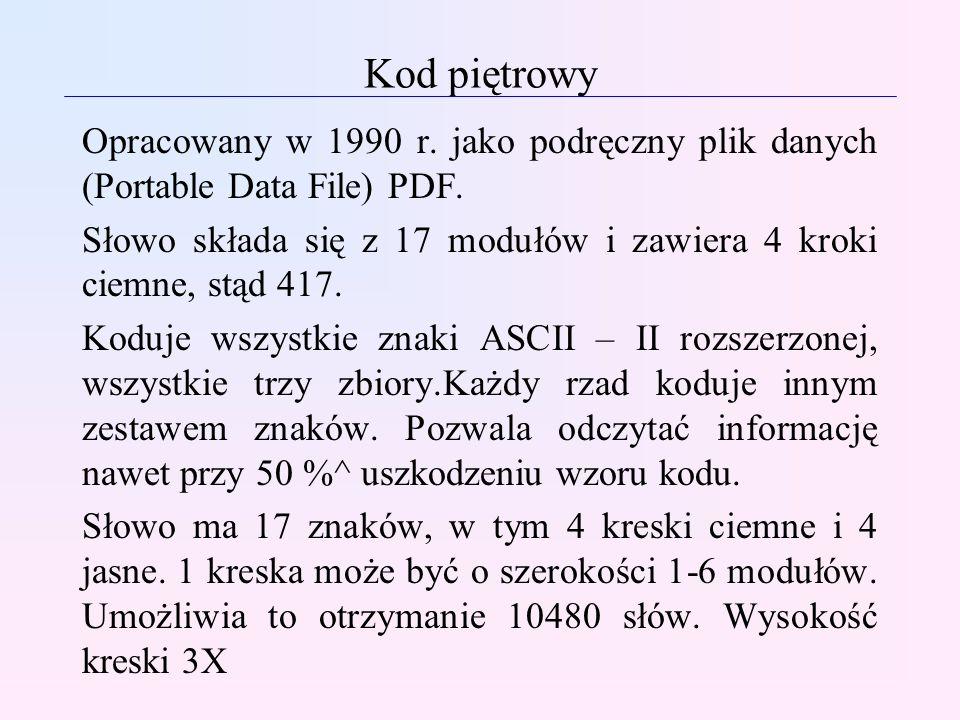 Kod piętrowy Opracowany w 1990 r. jako podręczny plik danych (Portable Data File) PDF. Słowo składa się z 17 modułów i zawiera 4 kroki ciemne, stąd 41