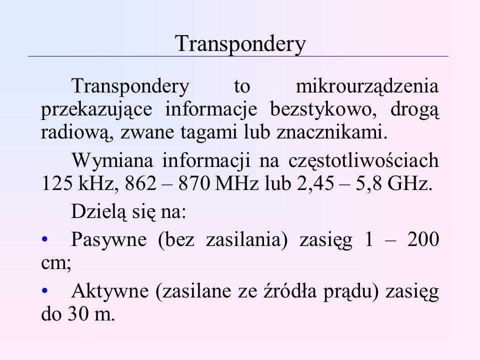 Transpondery Transpondery to mikrourządzenia przekazujące informacje bezstykowo, drogą radiową, zwane tagami lub znacznikami. Wymiana informacji na cz