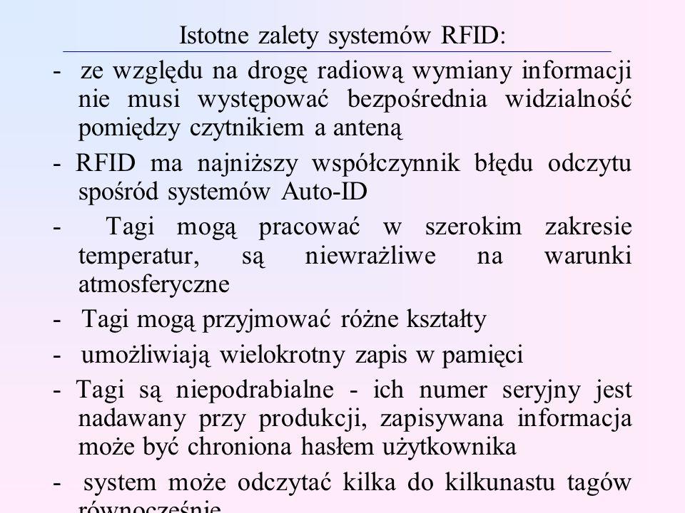 Istotne zalety systemów RFID: - ze względu na drogę radiową wymiany informacji nie musi występować bezpośrednia widzialność pomiędzy czytnikiem a ante