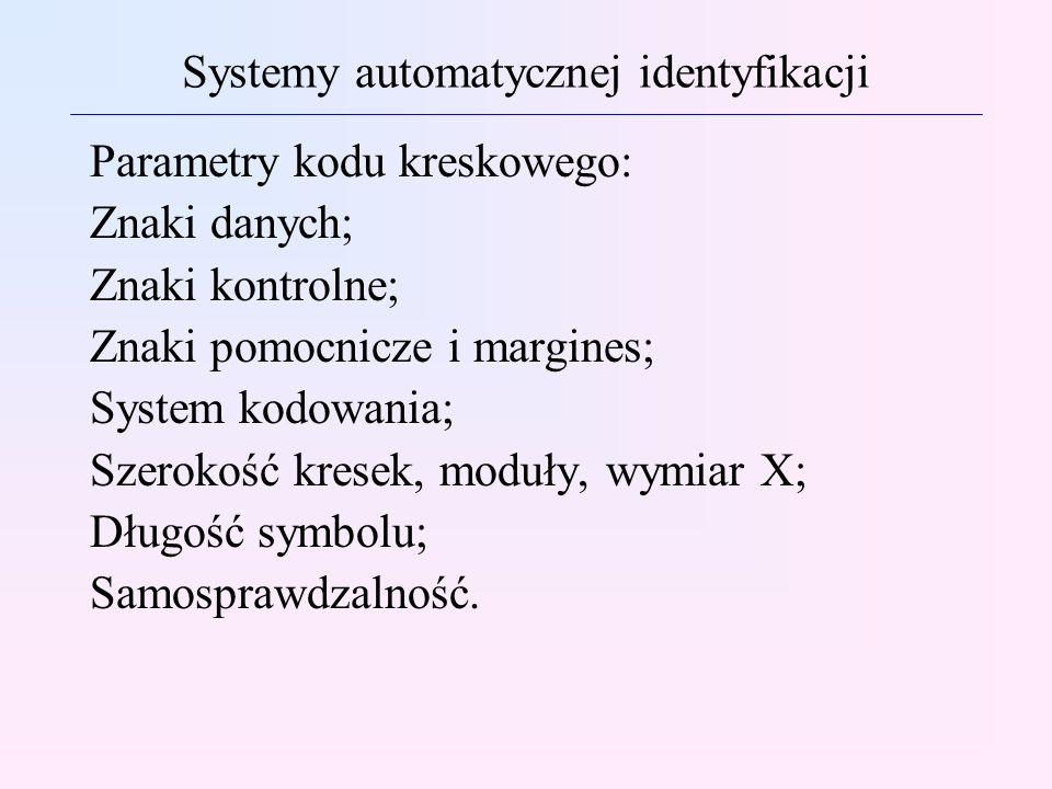 Systemy automatycznej identyfikacji Parametry kodu kreskowego: Znaki danych; Znaki kontrolne; Znaki pomocnicze i margines; System kodowania; Szerokość