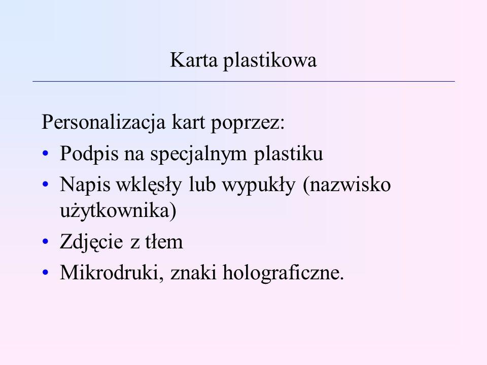 Karta plastikowa Personalizacja kart poprzez: Podpis na specjalnym plastiku Napis wklęsły lub wypukły (nazwisko użytkownika) Zdjęcie z tłem Mikrodruki