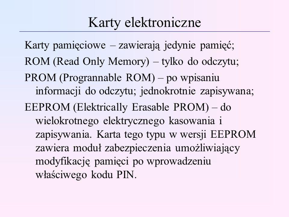 Karty elektroniczne Karty pamięciowe – zawierają jedynie pamięć; ROM (Read Only Memory) – tylko do odczytu; PROM (Progrannable ROM) – po wpisaniu info