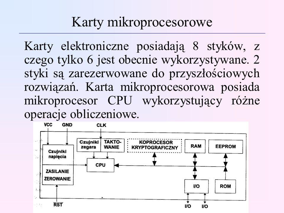 Karty mikroprocesorowe Karty elektroniczne posiadają 8 styków, z czego tylko 6 jest obecnie wykorzystywane. 2 styki są zarezerwowane do przyszłościowy