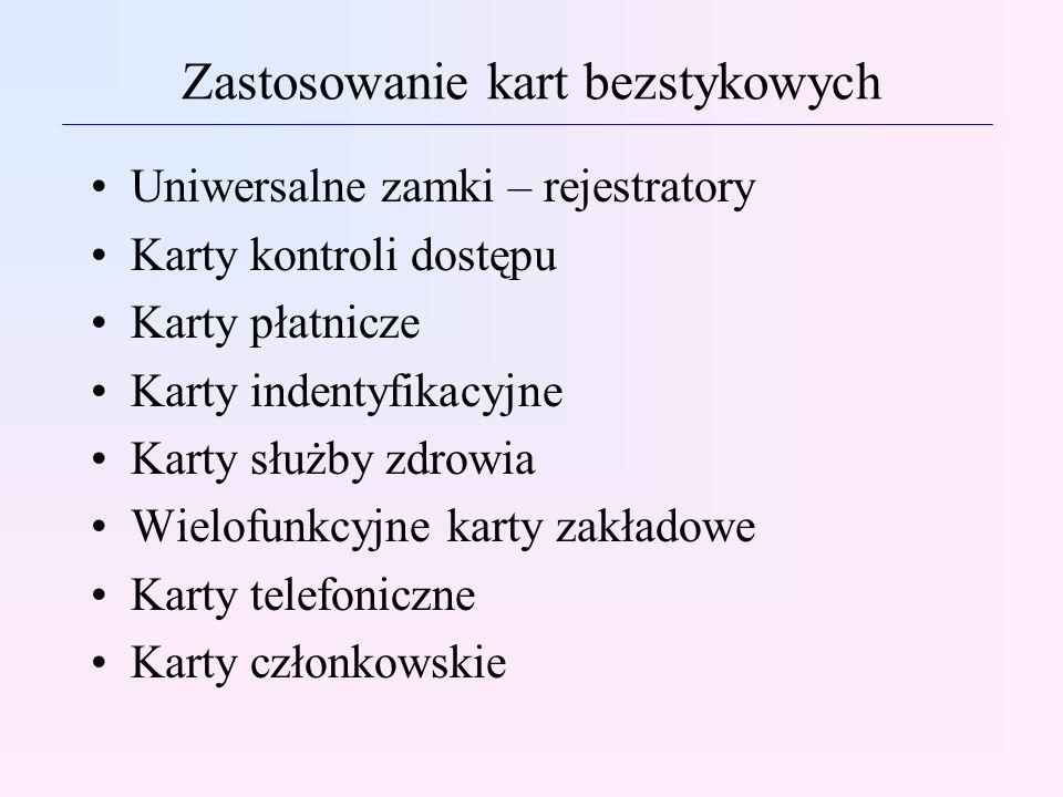 Zastosowanie kart bezstykowych Uniwersalne zamki – rejestratory Karty kontroli dostępu Karty płatnicze Karty indentyfikacyjne Karty służby zdrowia Wie