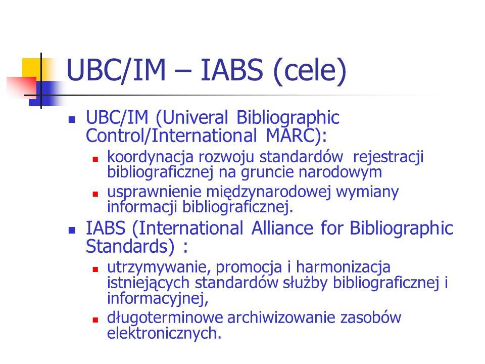 UBC/IM – IABS (cele) UBC/IM (Univeral Bibliographic Control/International MARC): koordynacja rozwoju standardów rejestracji bibliograficznej na grunci