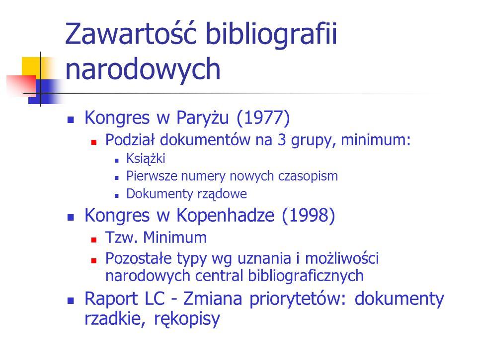 Zawartość bibliografii narodowych Kongres w Paryżu (1977) Podział dokumentów na 3 grupy, minimum: Książki Pierwsze numery nowych czasopism Dokumenty r