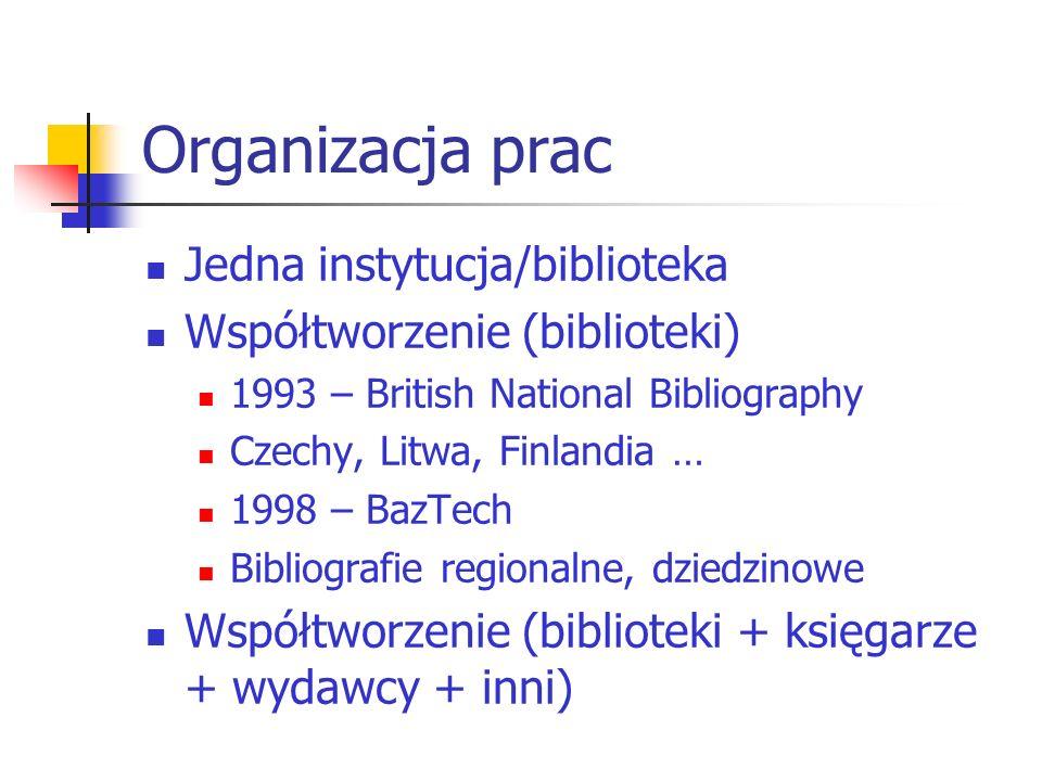 Organizacja prac Jedna instytucja/biblioteka Współtworzenie (biblioteki) 1993 – British National Bibliography Czechy, Litwa, Finlandia … 1998 – BazTec