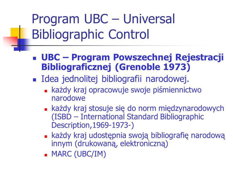 Program UBC – Universal Bibliographic Control UBC – Program Powszechnej Rejestracji Bibliograficznej (Grenoble 1973) Idea jednolitej bibliografii naro