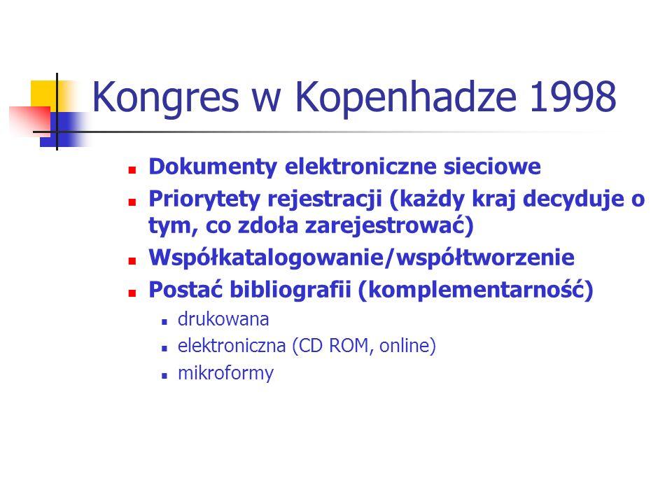 Kongres w Kopenhadze 1998 Dokumenty elektroniczne sieciowe Priorytety rejestracji (każdy kraj decyduje o tym, co zdoła zarejestrować) Współkatalogowan