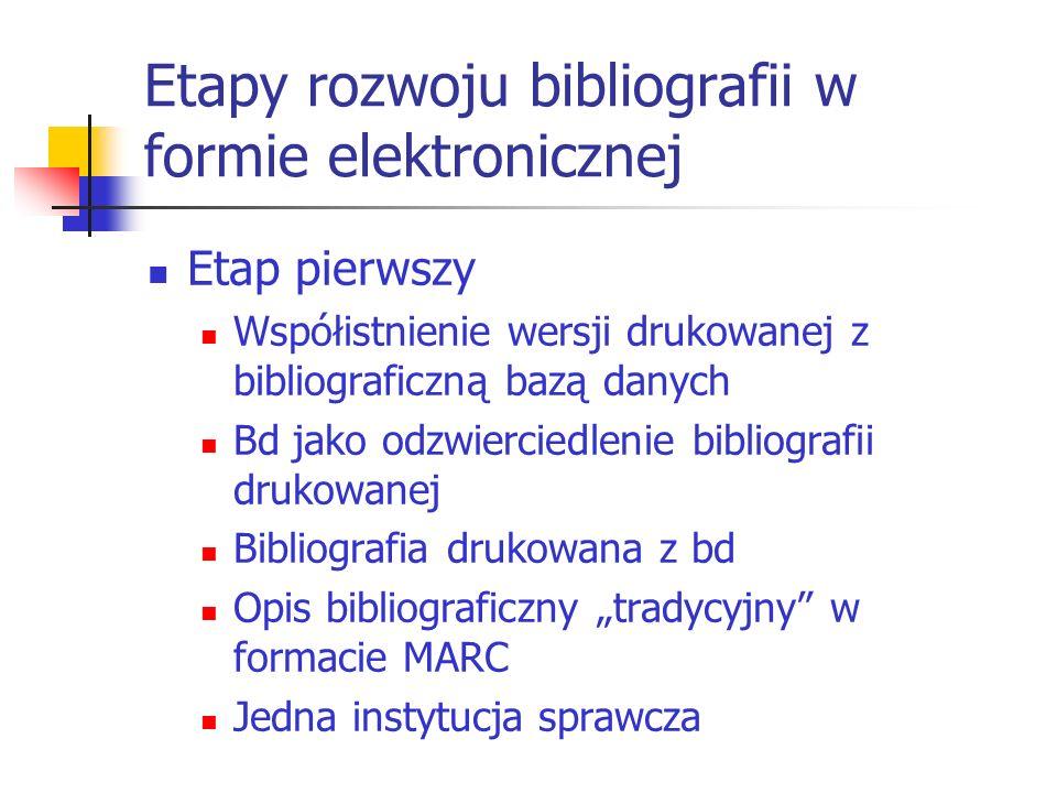 Etapy rozwoju bibliografii w formie elektronicznej Etap pierwszy Współistnienie wersji drukowanej z bibliograficzną bazą danych Bd jako odzwierciedlen