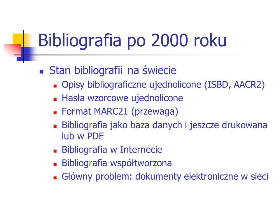 Bibliografia po 2000 roku Stan bibliografii na świecie Opisy bibliograficzne ujednolicone (ISBD, AACR2) Hasła wzorcowe ujednolicone Format MARC21 (prz