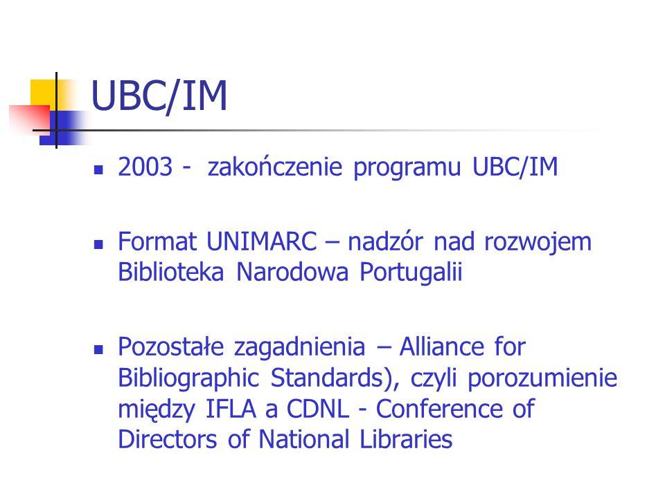 UBC/IM – IABS (cele) UBC/IM (Univeral Bibliographic Control/International MARC): koordynacja rozwoju standardów rejestracji bibliograficznej na gruncie narodowym usprawnienie międzynarodowej wymiany informacji bibliograficznej.