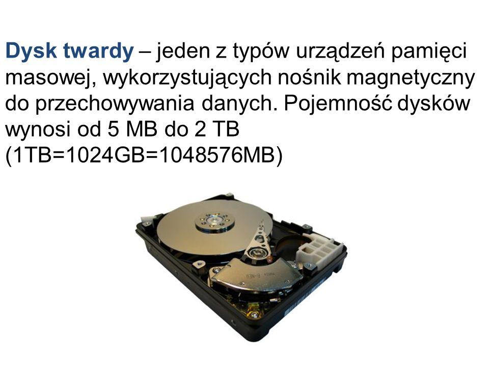 Dysk twardy – jeden z typów urządzeń pamięci masowej, wykorzystujących nośnik magnetyczny do przechowywania danych. Pojemność dysków wynosi od 5 MB do
