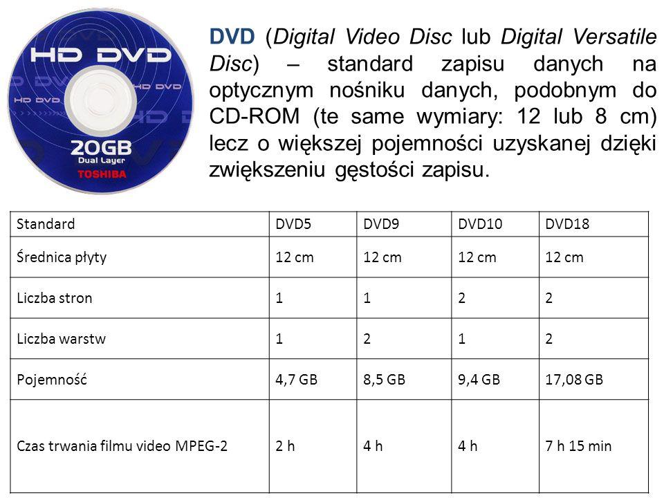 DVD (Digital Video Disc lub Digital Versatile Disc) – standard zapisu danych na optycznym nośniku danych, podobnym do CD-ROM (te same wymiary: 12 lub