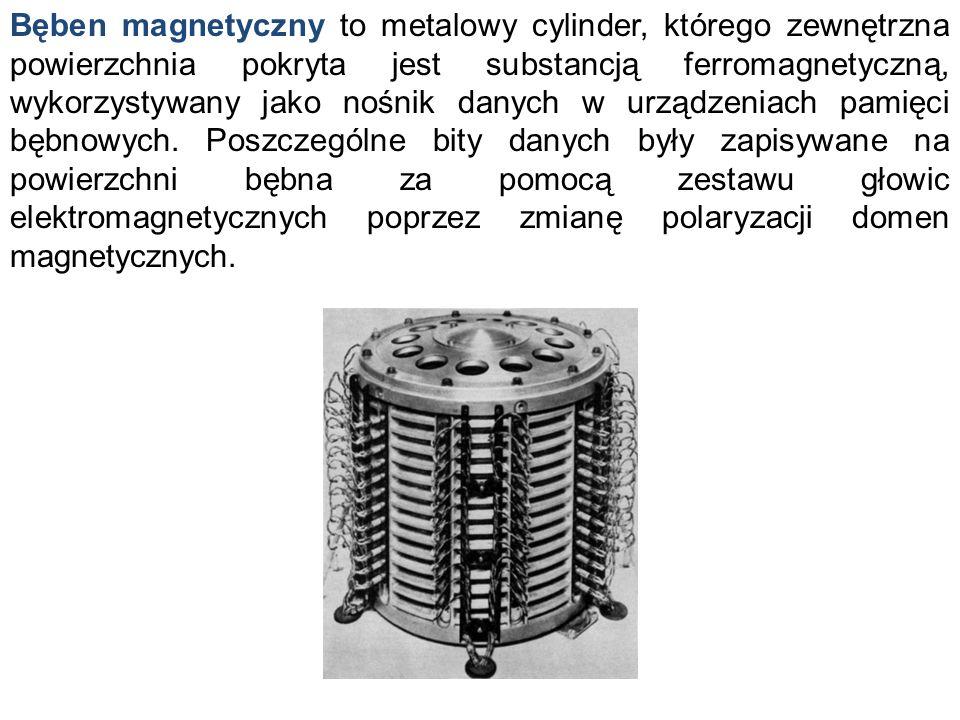 Bęben magnetyczny to metalowy cylinder, którego zewnętrzna powierzchnia pokryta jest substancją ferromagnetyczną, wykorzystywany jako nośnik danych w