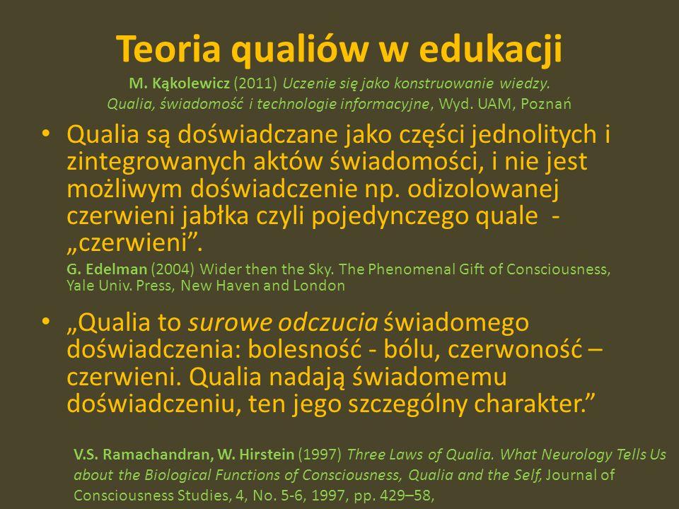 Teoria qualiów w edukacji M. Kąkolewicz (2011) Uczenie się jako konstruowanie wiedzy.