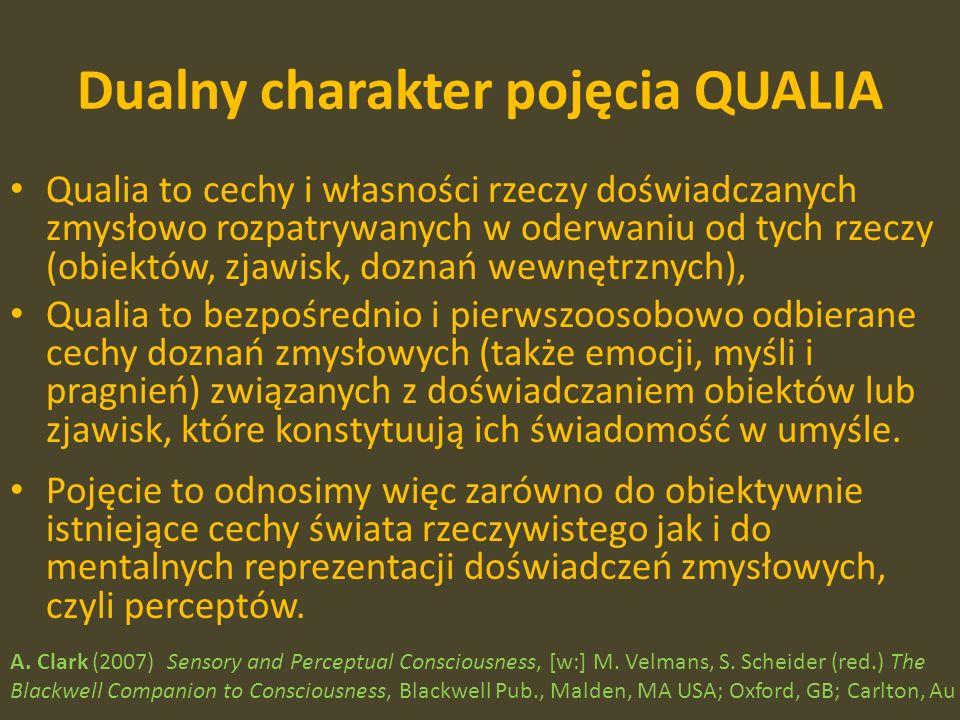 Dualny charakter pojęcia QUALIA Qualia to cechy i własności rzeczy doświadczanych zmysłowo rozpatrywanych w oderwaniu od tych rzeczy (obiektów, zjawisk, doznań wewnętrznych), Qualia to bezpośrednio i pierwszoosobowo odbierane cechy doznań zmysłowych (także emocji, myśli i pragnień) związanych z doświadczaniem obiektów lub zjawisk, które konstytuują ich świadomość w umyśle.