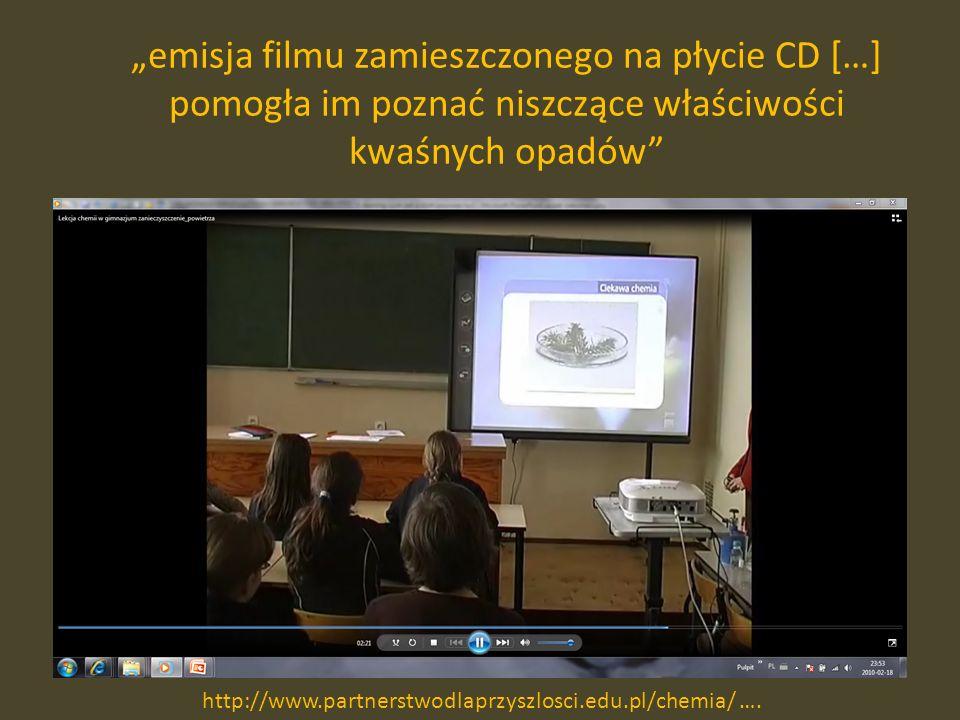 emisja filmu zamieszczonego na płycie CD […] pomogła im poznać niszczące właściwości kwaśnych opadów http://www.partnerstwodlaprzyszlosci.edu.pl/chemia/ ….