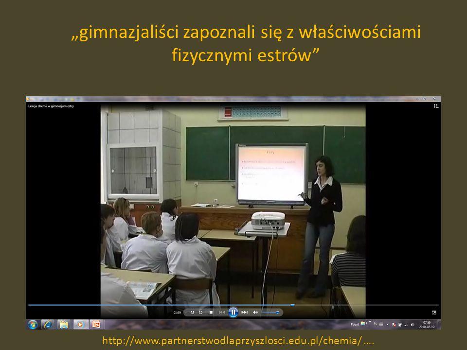 gimnazjaliści zapoznali się z właściwościami fizycznymi estrów http://www.partnerstwodlaprzyszlosci.edu.pl/chemia/ ….