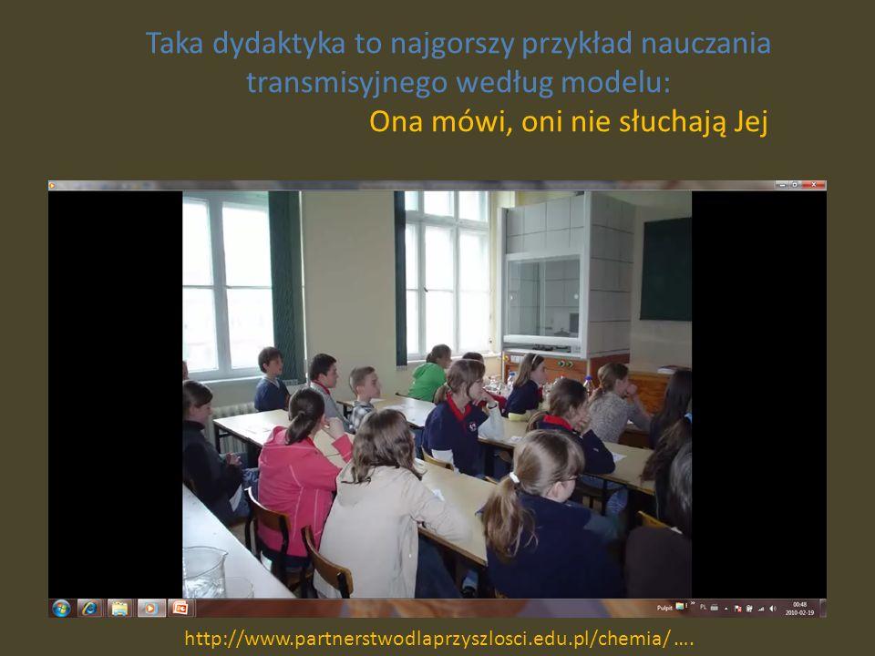 Taka dydaktyka to najgorszy przykład nauczania transmisyjnego według modelu: Ona mówi, oni nie słuchają Jej http://www.partnerstwodlaprzyszlosci.edu.pl/chemia/ ….