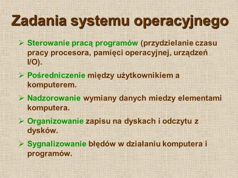 Zadania systemu operacyjnego Sterowanie pracą programów (przydzielanie czasu pracy procesora, pamięci operacyjnej, urządzeń I/O). Pośredniczenie międz