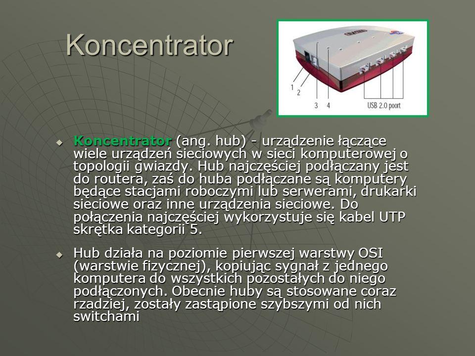 Koncentrator Koncentrator (ang. hub) - urządzenie łączące wiele urządzeń sieciowych w sieci komputerowej o topologii gwiazdy. Hub najczęściej podłącza