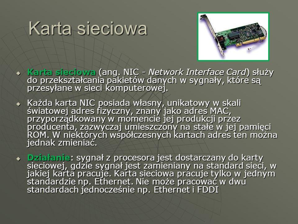 Karta sieciowa (ang. NIC - Network Interface Card) służy do przekształcania pakietów danych w sygnały, które są przesyłane w sieci komputerowej. Karta