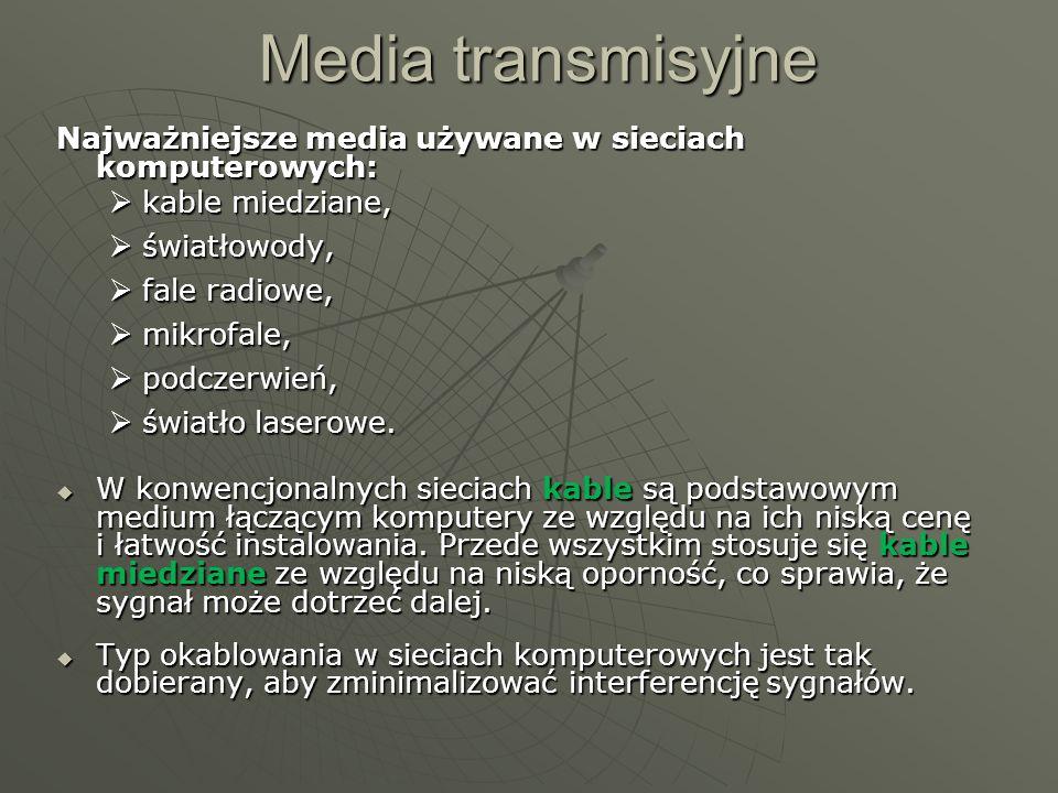 Media transmisyjne Najważniejsze media używane w sieciach komputerowych: kable miedziane, kable miedziane, światłowody, światłowody, fale radiowe, fal