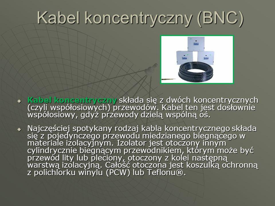 Kabel koncentryczny (BNC) Kabel koncentryczny składa się z dwóch koncentrycznych (czyli współosiowych) przewodów. Kabel ten jest dosłownie współosiowy