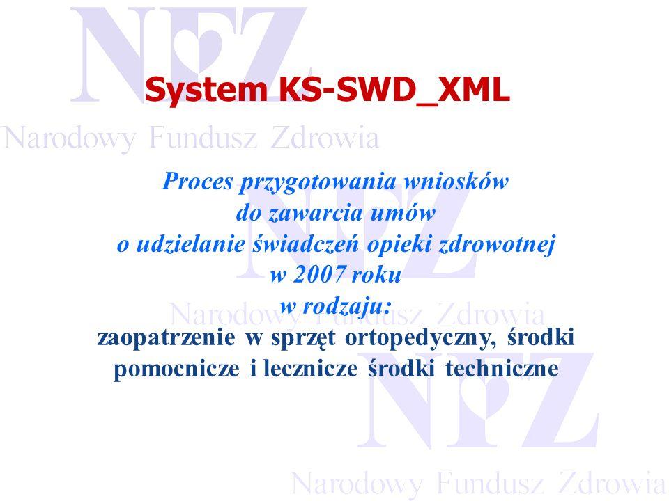 Przekraczamy bariery możliwości System KS-SWD_XML Proces przygotowania wniosków do zawarcia umów o udzielanie świadczeń opieki zdrowotnej w 2007 roku w rodzaju: zaopatrzenie w sprzęt ortopedyczny, środki pomocnicze i lecznicze środki techniczne