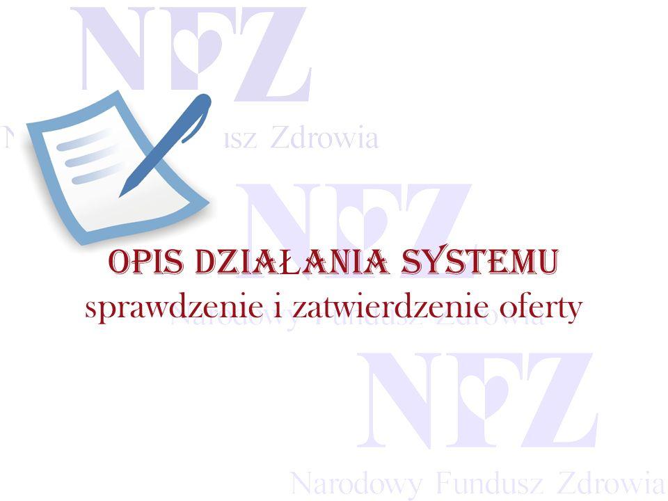 Przekraczamy bariery możliwości OPIS DZIA Ł ANIA SYSTEMU sprawdzenie i zatwierdzenie oferty