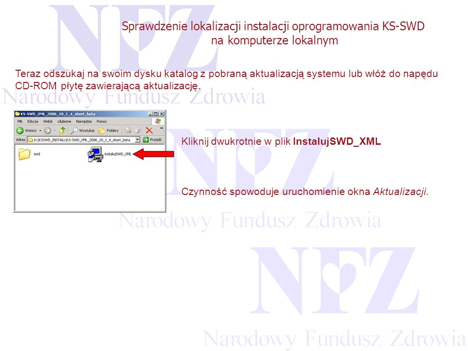 Przekraczamy bariery możliwości Sprawdzenie lokalizacji instalacji oprogramowania KS-SWD na komputerze lokalnym W przypadku, gdy system KSSWD_XML był zainstalowany w domyślnej lokalizacji, tzn.: C:\KSSWD_XML\ aplikacja automatycznie rozpozna katalog bazy systemu.